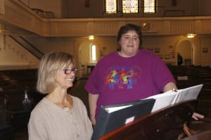 Julie Ward and I working on her solo, singing out!